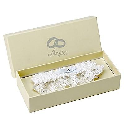 Amore Strumpfband für die Hochzeit, aus weißer Spitze und Satin