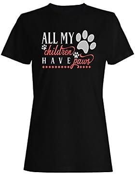 Todos Mis Hijos Tienen Patas camiseta de las mujeres j180f