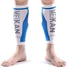 Fasce Di Compressione Per Polpacci, MEIKAN - Calf Guards/Sleeve Socks (1 coppia) uomini e donne(Bianco, Medium)