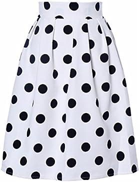 Faldas, Challeng Falda de paraguas con lunares Bodycon mujer Faldas de soplo retro (xl, blanco)