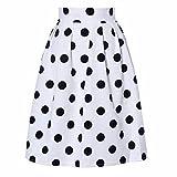 Faldas, Challeng Falda de paraguas con lunares Bodycon mujer Faldas de soplo retro (s, blanco)