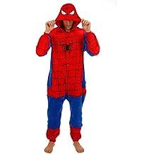 Adulto Unisexo superhéroe Spider Man Batman onesie Fiesta Disfraz de Kigurumi Con Capucha PIJAMA Sudadera Ropa Para Dormir regalo de Navidad (Spider Man, L(height 170cm-180cm))