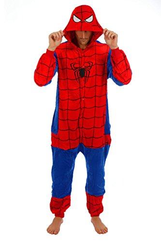 Imagen de adulto unisexo superhéroe spider man batman onesie fiesta disfraz de kigurumi con capucha pijama sudadera ropa para dormir regalo de navidad spider man, l height 170cm 180cm