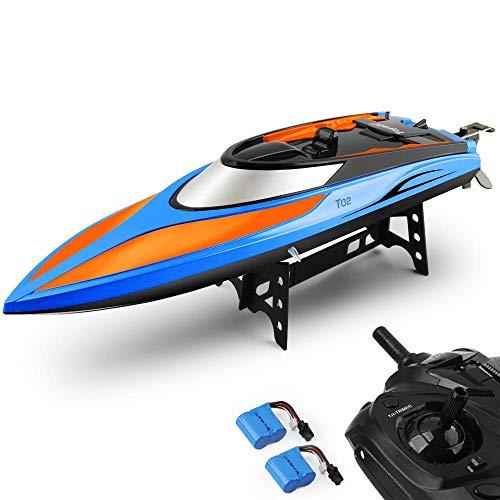 E T RC Boot Ferngesteuertes Boot 2,4GHz 20MPH High Speed Boot mit Kapsel Standard Funktion Fernbedienung Spielzeug für Kinder mit Extra Batterie (orange blau)*