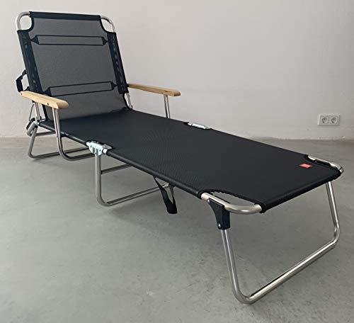 Fiam Jan Kurtz 495266 Amigo Chaise longue pliante 3 pieds avec accoudoirs noir