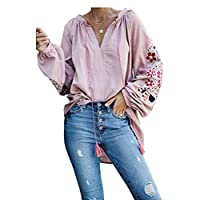 DressU Women V Neck Mid-long Pullover Long-Sleeve Embroidered Tees Pink L