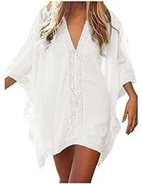Walant Damen Strandkleid Einheit Größe Kleidung Strand Hemdkleid V-Ausschnitt Rock