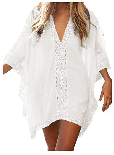 Walant Damen Strandkleid Einheit Größe Kleidung Strand Hemdkleid V-Ausschnitt Rock Weiß onesize