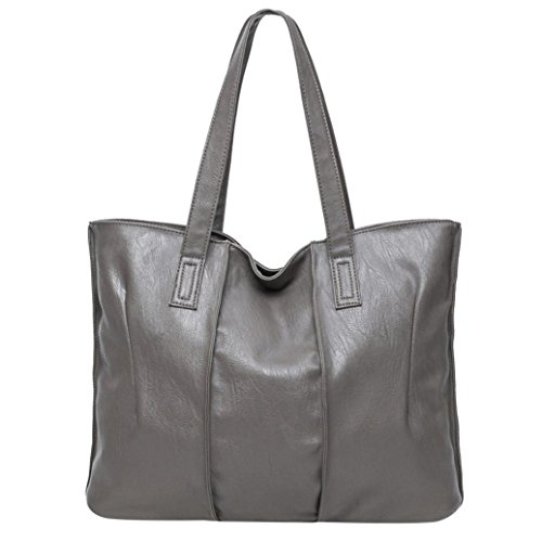 Koly_Tote Bag Lady Fashion borsetta a tracolla in pelle (Grigio)
