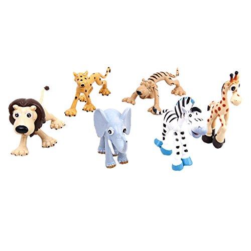 Animali Della Foresta Set Elefanti Leopardo Zebra Leone Tigre Bambini Cervo Giocattolo