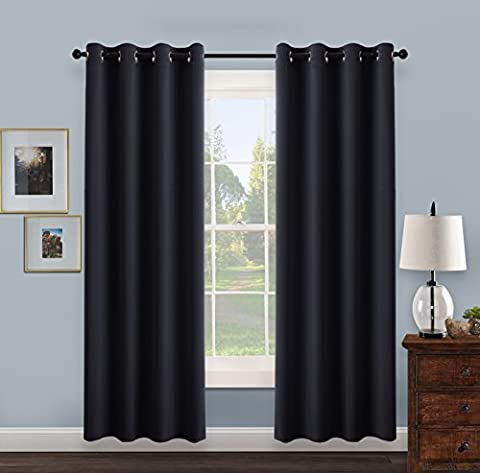 Thermal Insulated Eyelet Blackout Curtains - PONYDANCE Super Soft Solid Window Blinds for Girl's Room, Home Fashion & Decoration, 52