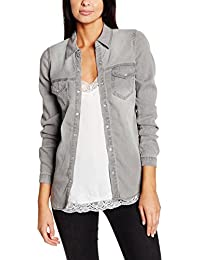 VILA CLOTHES Damen Hemd Vibista Denim Shirt-noos