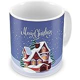 Indigifts Christmas Mugs Merry Christmas Printed Blue Coffee Mug 330 Ml - Xmas Decorations, Christmas Gifts, Xmas Mugs, Christmas Presents, Quirky Mugs
