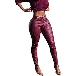 Pantalones Mujer HARRYSTORE Flaco estirado Polainas Cintura alta Cuero de la PU Pantalones (S, Red)