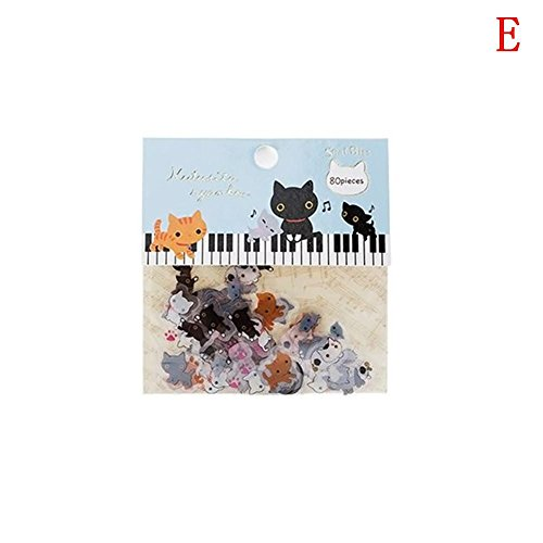 Holo Cute Karikatur Tier Aufkleber Niedlich Transparent DIY Tagebuch Notizbuch Aufkleber Dekorativ (E)