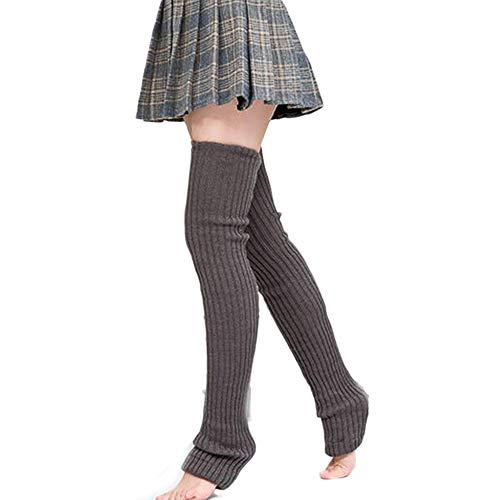 Nanxson Damen Mädchen Extra Lang Basic Leg Warmer Gestrickte Over-Knee Lange Stulpe Beinstulpe Tanzen Strumpf TTW0056 (S 80cm, grau)