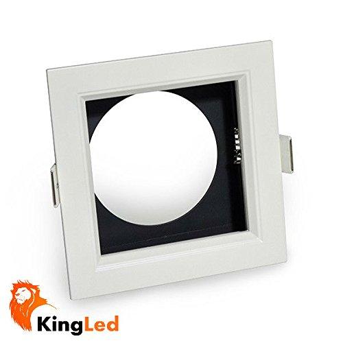 KingLed - Cornice da 1 Posto per Faretti Grille Modello RS03 da 35W, Supporto con Dimensione Foro 170 x 170 millimetri, Dimensioni 200 x 200 millimetri, cod. 1362 - Grille Supporto