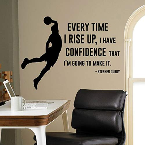 lyclff Jedes Mal wenn ich Vertrauen Habe Wandtattoo Stephen Curry Zitat Vinyl Aufkleber Home Decor Basketball Player Wand Kunst Wandbild 42x56c (Basketball-wand-kunst)