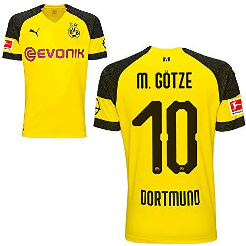 Puma BVB Borussia Dortmund Home Trikot mit Bundesliga Logo 2018 2019 Kinder Mario Götze 10 Gr 164