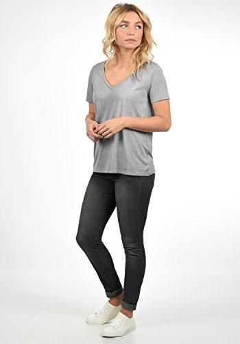 JACQUELINE de YONG by Only Leona Damen T-Shirt Kurzarm Shirt mit V-Ausschnitt Aus Hochwertiger Materialqualität Meliert Light Grey Melange