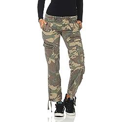 FY Pantalón Mujer Pantalones de Camuflaje Ejército Pantalones Casuales Pantalones de Mezclilla Tarnlook Vintage