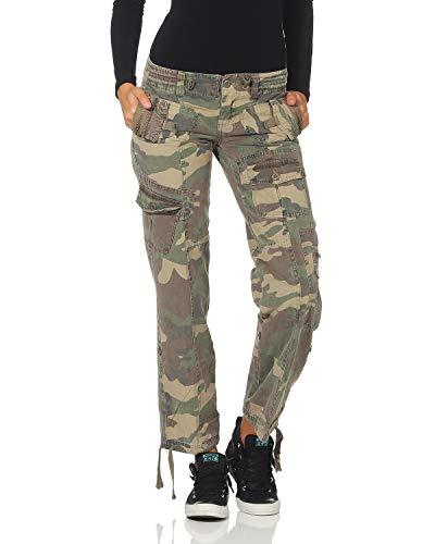 ZARMEXX FY Damen Cargohose Camouflage Army Military Freizeithose Jeanshose Tarnlook Vintage Trousers