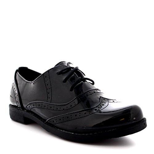 Femmes Broguess Cap D'aile Travail Cru Formel Designer Bureau Chaussures Plates Noir Brevet