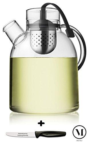 Menu Teekanne Kettle Glas mit Tee-Ei 1,5L + Edelstahlstyling Universalmesser im Set