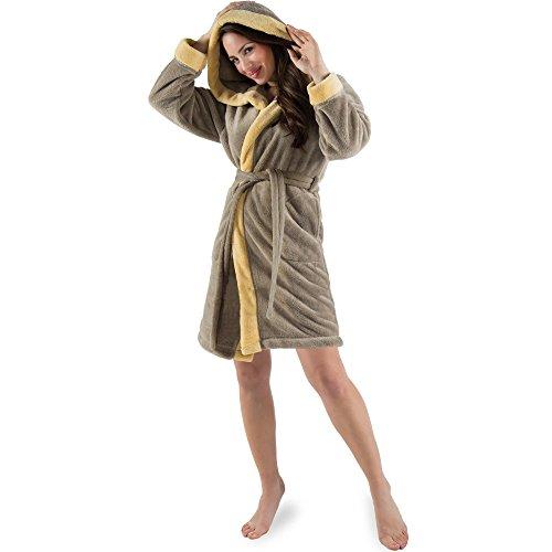 CelinaTex Damen Bademantel mit Kapuze, Flauschiger Sherpa-Fleece, Kurzer Saunamantel für Wellness Spa, 5000720, Trend Morgenmantel Serie Kos M Taupe Vanille