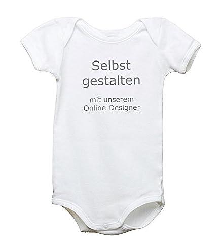 Babystrampler mit Spruchmotiv - verschiedene Sprüche zur Auswahl - 100% Bio-Baumwolle, Motiv:selbst gestalten;Größe:3-6