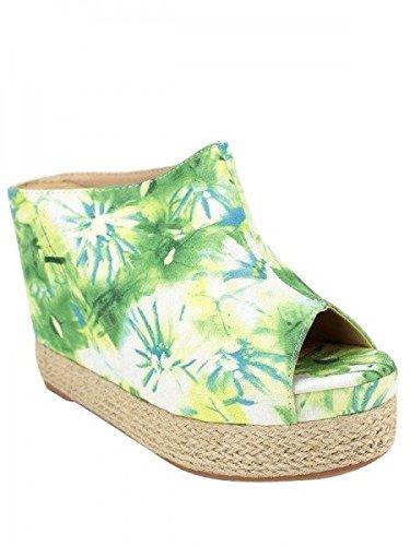 Cendriyon, Compensée Toile Green TROPIK Chaussures Femme Vert