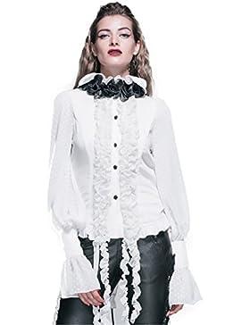 Devil Fashion Camicia gotica chiffon manica lunga da Donna T Top Steampunk nappa camicette Top, 7 formati