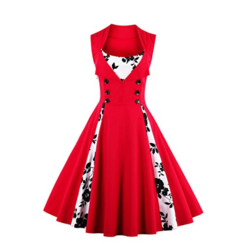 IMUYI Frauen Polka Dot Retro Vintage Style Cocktail Party Swing Kleid (Red Floral, XXX-Large) (1960er Aus Floral Baumwolle)