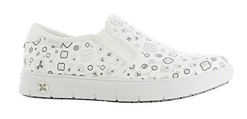 Oxypas Neu Fashion Berufsschuh komfortabeler Sneaker Nadine aus Leder antistatisch (ESD) in vielen Farben (37, weiß-geblümt (MUG))