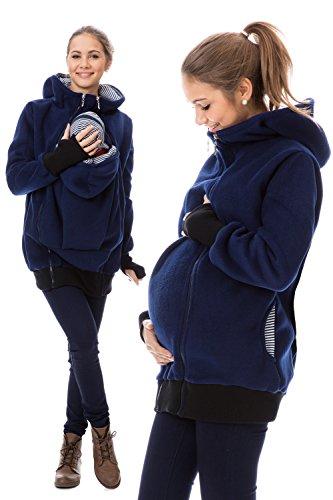 GoFuture Damen Umstandsjacke Hallå 4in1 Fleece mit Hochkragen GF2307XC5 Marine mit marineweißen Streifen - 4