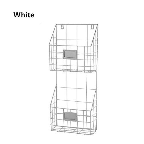 ShouYu Schmiedeeisen Wand montiert Bücherregal einfache Wohnzimmer Zeitungsständer Zeitschriftenständer Aufbewahrungskorb (Weiß,59.5 x 24.5 x 9.8cm)