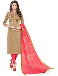 Women'S Brown Semi Stitched Embroidered Banglori Cotton Dress Material