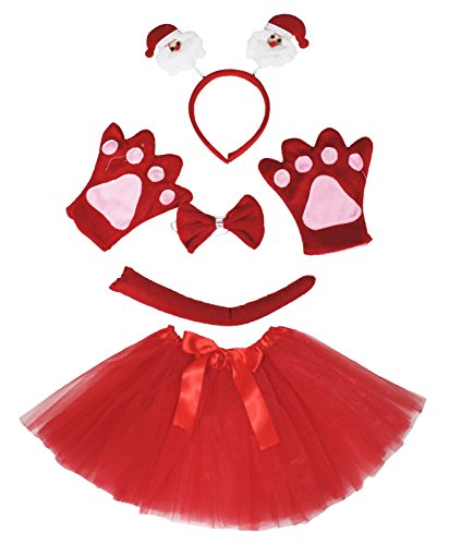 Santa Claus Headband Bowtie Tail Gloves Red Tutu 5pc Girl Costume for Party (Rot)