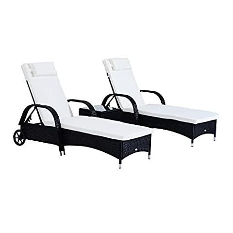 Outsunny Garden Rattan Furniture 3 PC Sun Lounger Recliner Bed Chair Set with Side Table Patio Outdoor Wicker (Black)