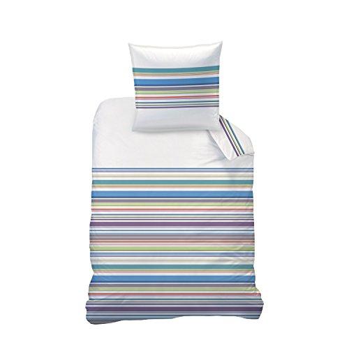 Matt&Rose Parure de Lit, Coton, Blanc Rayures Multicolores, 135 x 200 cm, de 2 unités