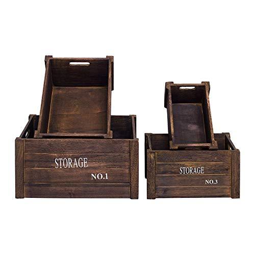 Set de 4 cajas, contenedores, en madera pintada gris en estilo shabby vintage.Estes cajas son ideales para adornar y decorar zonas con flores en jardin y utíl para organizar en cocina. Material: madera Tamaños: A 20 x AN. 39 x FON. 31 cm A. 18 x AN. ...