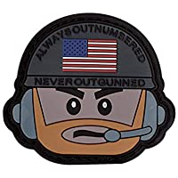 Onuris Always Outnumbered Never Outgunned Tactical Morale Patch Velcro Rubber PVC 3D Parche, Gris
