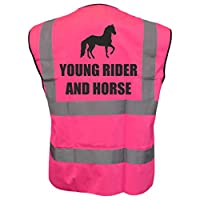 Young Rider and Horse Kids Pink Hi Vis Viz Vest Waistcoat, Childrens High Visibility Reflective Fancy Dress Large