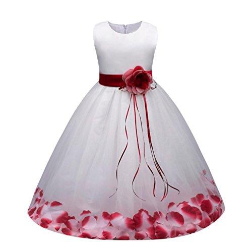 Sannysis Mädchen Kinder Tüll Blume Kleider Blumenmädchenkleider Hochzeitskleid Brautjungfern Kleid Prinzessin Hochzeit Abendkleid Langes Kleid Festzug Cocktailkleid Ballkleid (100, ()