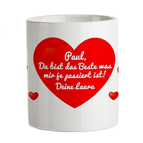 Tassenwerk - Magische Tasse - Kaffeetasse mit Thermoeffekt - Motiv: Herz - Mit geheimer Liebesbotschaft - Personalisiert mit Wunschtext - Geschenkidee Frauen