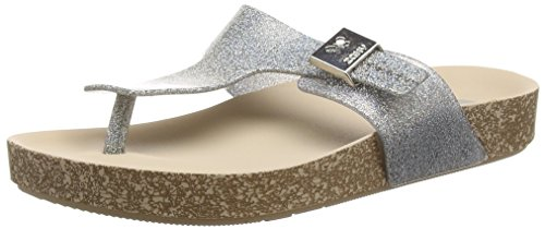 Zaxy Fashion, Sandales Plateforme femme Argent - Silver (Silver Glitter)