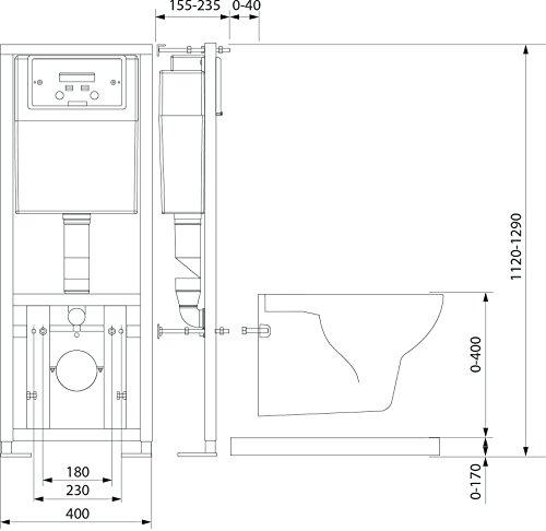 Professionelle verdeckter WC Unterputz Rahmen WC Link
