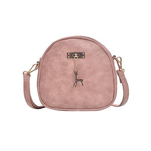 Damen Leder Umhängetasche Reh Anhänger Reißverschluss Citytasche Schultertasche Casual Crossbody Messenger Tasche (A Typ Rosa)