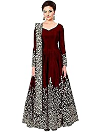 f4d5482fd8e Parth Fashion Women s Embroidered Semi Stitched Tafeta silk Anarkali Gown (30-30.free Size