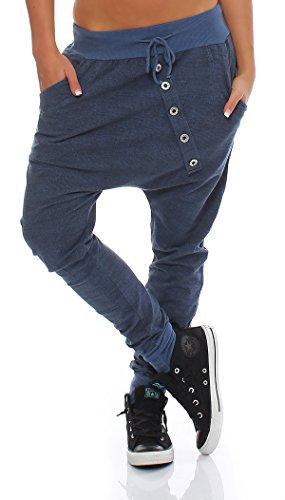 Moda Italy pantaloni della tuta larghi pantaloni ragazzo di donne d'avanguardia di pantaloni della tuta pantaloni sportivi di cotone Vestibilità ampia Blu